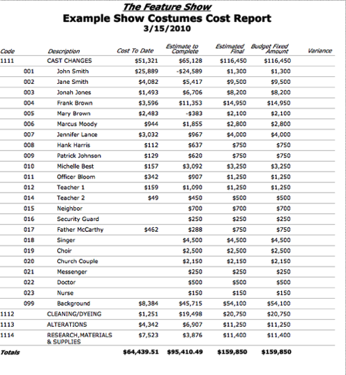 Budget cost report
